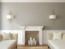 Современная жить-комната с камином. Стоковое фото RF