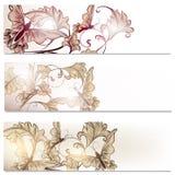 小册子传染媒介在与蝴蝶的花卉样式设置了 免版税图库摄影