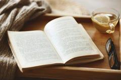 书和毛线衣 免版税库存照片