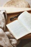 书和毛线衣 免版税图库摄影