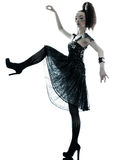 妇女时尚黑色丝绸夏天礼服 免版税库存照片