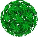 医疗大麻叶子球形背景 库存图片
