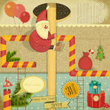 Αναδρομική κάρτα Χαρούμενα Χριστούγεννας Στοκ φωτογραφία με δικαίωμα ελεύθερης χρήσης