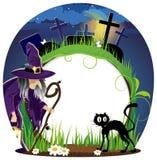 巫婆和猫在公墓 库存照片