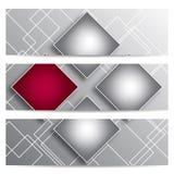 Αφηρημένα διανυσματικά εμβλήματα με τα τετράγωνα Στοκ Εικόνες