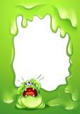 与一个哭泣的绿色妖怪的一个边界设计 免版税库存图片
