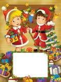 Ευτυχές πλαίσιο Χριστουγέννων - σύνορα - απεικόνιση για τα παιδιά Στοκ Εικόνα