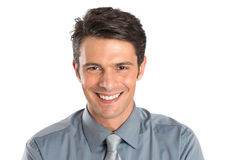 Счастливый успешный молодой смеяться над бизнесмена Стоковые Фото
