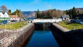 古苏格兰运河锁 免版税库存照片
