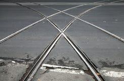 与电车轨道横穿的运输背景 库存图片