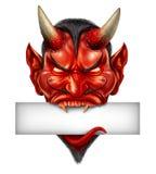 恶魔顶头空白的标志 库存图片