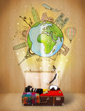 Багаж с концепцией иллюстрации перемещения по всему миру Стоковые Фотографии RF