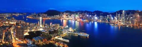 Взгляд ночи Гонконга Стоковое Изображение RF