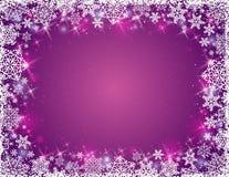 与雪花框架,传染媒介的紫色背景 图库摄影