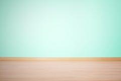 Предпосылка, пустая стена и пол в голубом зеленом цвете Стоковые Изображения RF