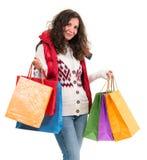 Γυναίκα με τις τσάντες αγορών Στοκ εικόνες με δικαίωμα ελεύθερης χρήσης