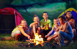 Счастливые дети жаря в духовке проскурняки на лагерном костере Стоковые Фотографии RF