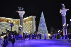 在威尼斯式度假旅馆赌博娱乐场的圣诞节在拉斯维加斯 库存照片