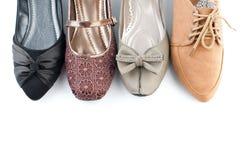 各种各样的女性平的鞋子 库存照片