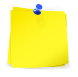 五颜六色的稠粘的笔记附有与蓝色别针 免版税库存图片