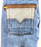 老牛仔裤口袋背景特写镜头  免版税库存图片