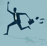 Абстрактный бизнесмен бежать поздно. Стоковые Изображения RF