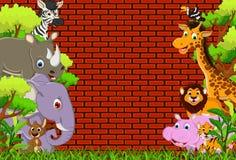 逗人喜爱的动物野生生物动画片 免版税图库摄影
