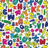 多色英语字母表无缝的样式 免版税库存照片