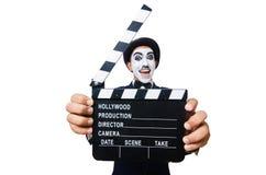有电影拍板的人 免版税库存照片