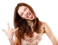 画象美好微笑的青少年的女孩愉快欲死欲仙打手势 免版税库存图片