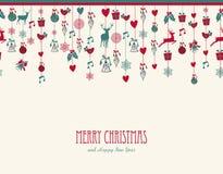 圣诞快乐垂悬的元素装饰混合涂料 免版税库存照片