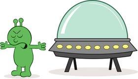 Чужеземец сердитый с космическим кораблем Стоковое Изображение RF