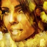 Молодая чувственная романтичная женщина красоты. Пестротканый стиль искусства шипучки. Стоковое Изображение RF