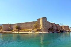 中世纪城堡在凯里尼亚,塞浦路斯。 免版税图库摄影