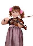 Портрет скрипки игры маленькой девочки Стоковое Изображение