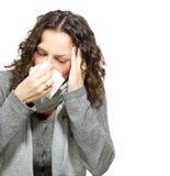 病的妇女。流感 免版税图库摄影