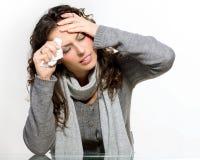 病的妇女。流感 库存图片