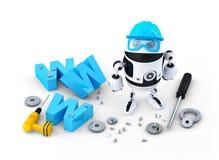 有万维网标志的机器人。网站大厦或修理概念 库存照片