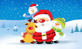 Санта Клаус с друзьями Стоковое Фото