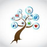 Медицинский дизайн иллюстрации концепции дерева Стоковое Изображение RF