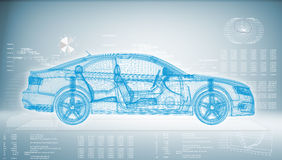 автомобиль Высок-техника на голубой предпосылке Стоковое Изображение RF