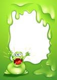 与一绿色妖怪呼喊的一块绿色边界模板 库存照片