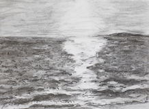 在海的日出,画 库存图片