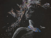 Φυλετική θεά, σχέδιο κρητιδογραφιών Στοκ φωτογραφίες με δικαίωμα ελεύθερης χρήσης