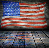Пустая внутренняя комната с цветами американского флага Стоковое фото RF