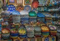 Турецкая керамика на грандиозном базаре, Стамбуле Стоковые Фото