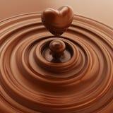 心脏标志由液体巧克力制成 免版税库存照片