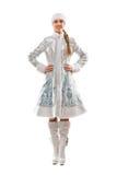 Симпатичная усмехаясь девушка снежка Стоковые Изображения