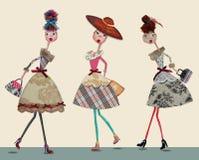 Девушки шаржа моды Стоковая Фотография RF