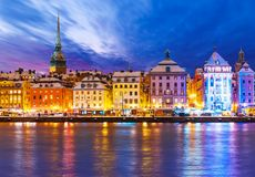圣诞节和新年在斯德哥尔摩,瑞典 免版税库存图片